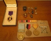 lot Authentic Korean War USMC Purple Heart Medal w/ Box Service Medals Pins KIA Pfc. Henry A. Honza 1st. Marines