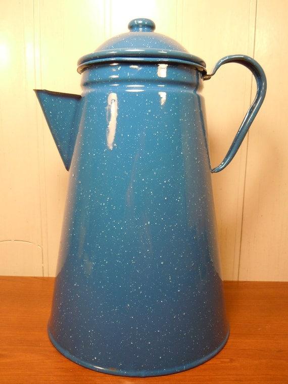"Vintage Blue Enamelware Pitcher 10.5"" Splatterware Enamel Retro Rare Vase Planter"