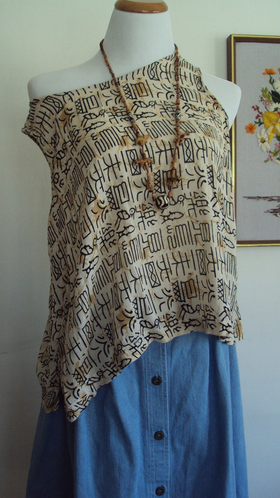 Vintage Egyptian HIEROGLYPHICS CROP Chico's Lightweight Tank Top, Size 3
