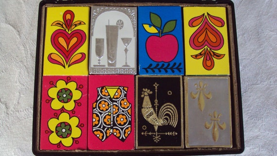 Vintage (8) 1960's Party Table MATCHBOXES Bold Graphic Groovy With Case