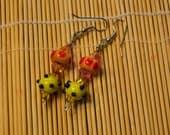Alien spaceship  area 51 lampwork earrings