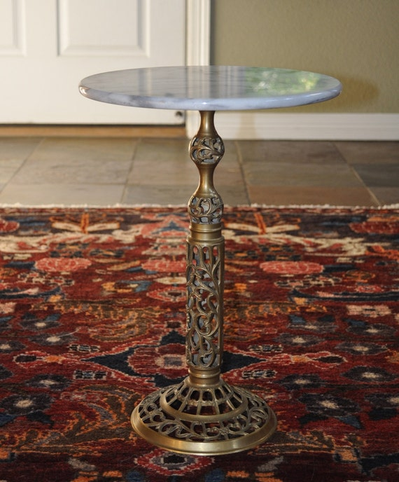 Antique Marble Side Table Reading: Small Vintage Marble Top Brass Ornate Base Side Table