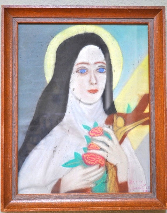 RESERVED FOR JULIE  Vintage St. Therese framed art picture 1960s