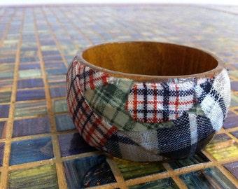 Fabric Plaid Medley Wood Bracelet // Gift for Her