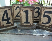 WEDDING Table Numbers, RUSTIC, Country Distressed, Reception