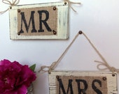 Burlap MR & MRS WEDDING Ivory Hanging Signs Chair or Burlap Wall Hangars, Rustic Burlap Wedding Signs