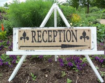 Reception Directional Wedding Sign Custom SHABBY WOOD SIGN
