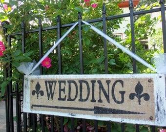 WEDDING SIGN burlap arrow shabby chic Vintage Inspired Rustic Ceremony