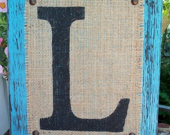 BURLAP MONOGRAM sign Custom with any letter A-Z, Initials, Name letters, Shabby Chic, 12x10
