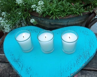 Turquoise Blue Heart, Your WEDDING COLORS, Table top, Reception Rustic, Just Married