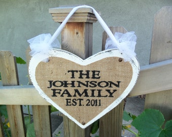 Personalized for you, burlap Wedding Sign, Heart with custom names