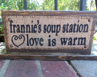 Personalized SOUP STATION sign WEDDING or party self-standing sign 14x7 receptions table customizable