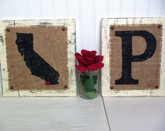Burlap Wedding Signs, State and Monogram, Wedding location, where you first met, initial sign