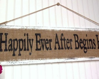 Happily Ever After Begins Here WEDDING SIGN, 36x10, Burlap and Jute twine hanging signage