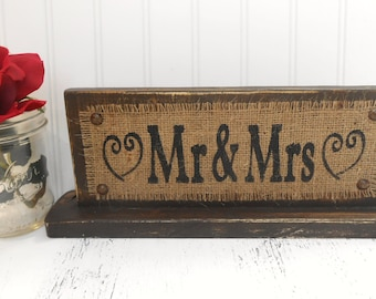 WEDDING Stand, Rustic Wedding Sign/Stand. Wedding Burlap, Mr & Mrs Wedding Stand for Reception Table, Distressed  Stand, Rustic WEDDING