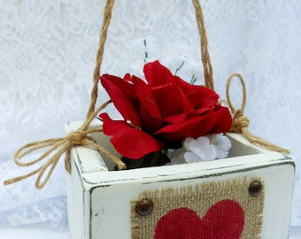Flower Girl Basket Wedding sign Rustic box, primitive and elegant distressed 6x6 burlap and wood