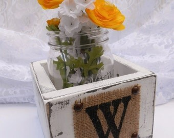 Wedding mason jar centerpiece, flower holder vase rustic burlap monogram
