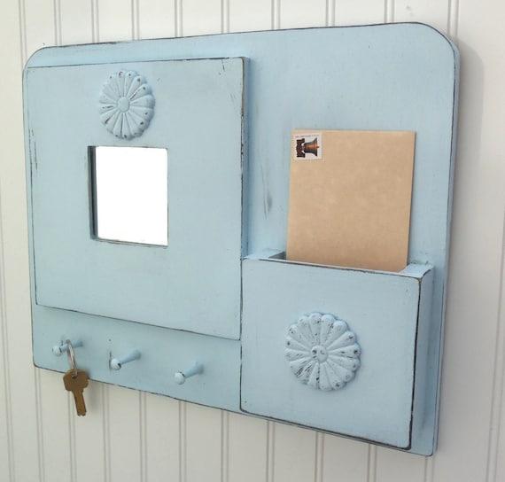 Powder Blue Mirror Key and Letter Organizer
