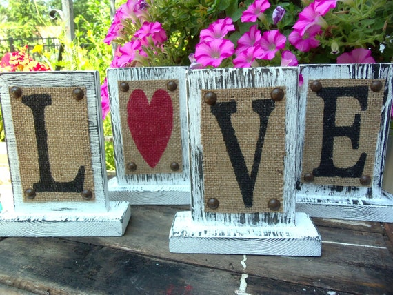 Custom WEDDING, home decor, LOVE, wedding table letter or number, mantle decoration, burlap rustic