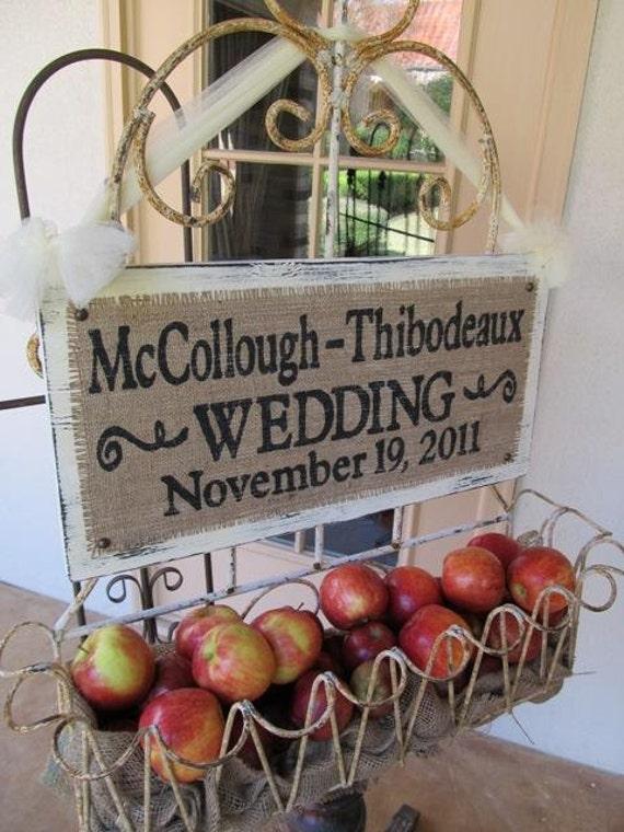 CUSTOM WEDDING NAME Sign Burlap rustic personalized custom hanging Shabby Chic