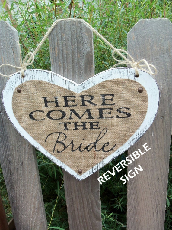 Here Comes The Bride JUST MARRIED, Happily Ever After Reversible burlap Wedding Signs 11x14