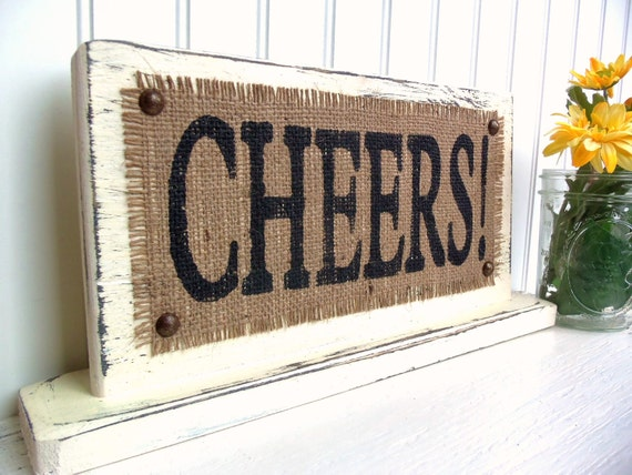 CHEERS , TABLE TOP Sign, Drink table wedding signage reception, vintage inspired cocktails