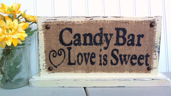 Candy Bar Love is Sweet, Wedding Party sign with stand, table sign, Vintage look ivory white