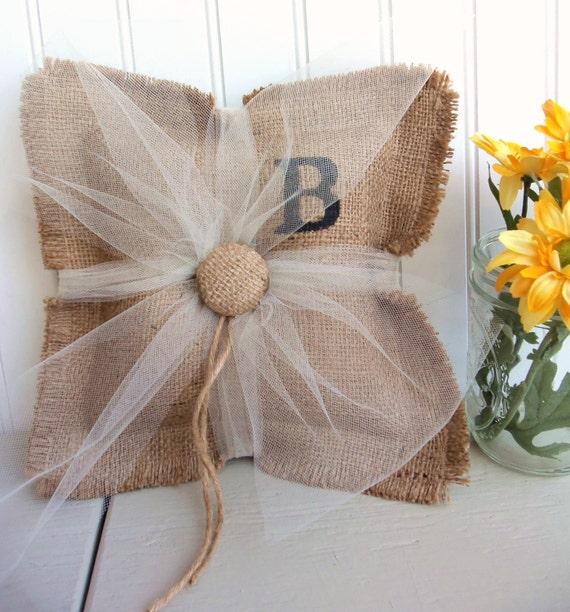 BURLAP ring bearer pillow, custom monogram wedding decor