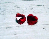 Swarovski Crystal Hearts - Garnet - 10mm (2)