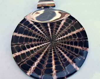 Mozaic Shell Pendant with 925 Sterling Silver Bail