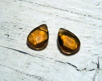 Amber Faceted Czech Glass Briolettes - 10mm x 14mm (2)