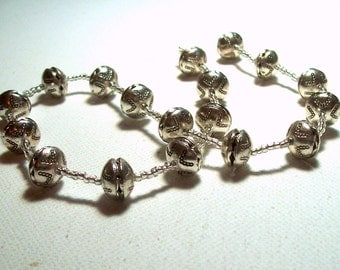 Silvertone Metal Spacers Beads - 8mm x 10mm - 14 inch Strand (1)
