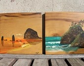 Original Painting, Original Signed Art, Nautical Painting, Vintage Painting, Mod - Retro - Bohemian - Natural Wood