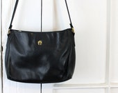 Vintage Black Leather Purse, Crossbody Bag, Shoulder Bag with Buckle Strap