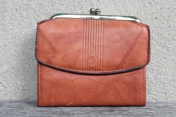Vintage Orange Brown Leather Wallet, Change Purse, Monogram B, Genuine Leather, Marbled, Boho Chic, Womens Gift