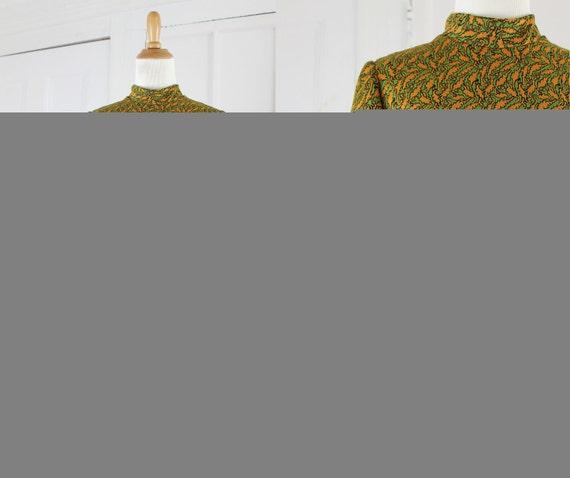 Vintage Mini Dress, Go Go Dress, Mod Dress, Psychedelic Print, Green and Orange,  Womens Medium 1960s 60s