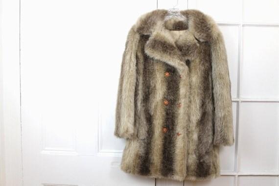 Vintage 1950s Fur Coat, Womens Faux Rabbit Fur Jacket, Cream Neutral White Brown, Small Medium Petite