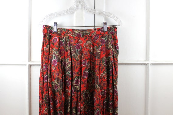 RESERVED Vintage Orange Red Boho Maxi Skirt, Paisley Desert Gypsy Bohemian Floral, Pleated High Waisted, Long Flowy, 70s 80s, Small medium