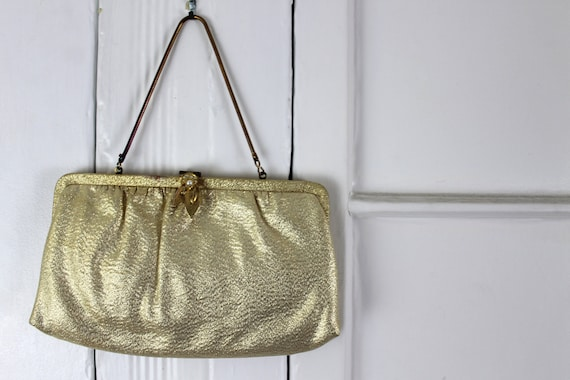 1950s Gold Clutch, Wedding Purse, Golden Formal Handbag