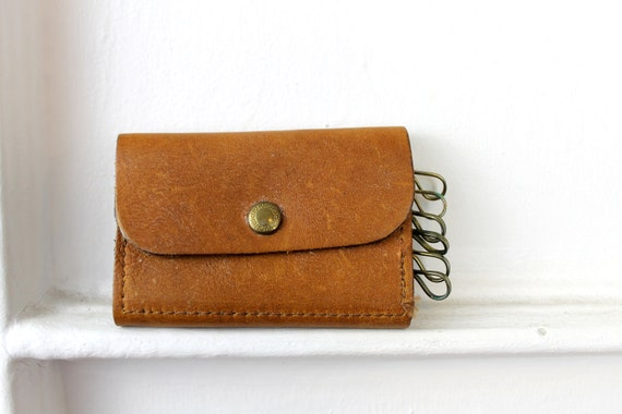 Vintage Brown Leather Key Holder, Rustic Distressed Leather 1960s