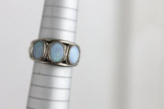 Vintage Opal Sterling Silver Ring, Sparkling Iridescent, Stamped 925, Size 6 3/4