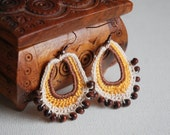 Boho orange brown crochet earrings