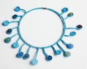 Crocheted blue circle necklace