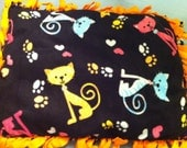 Cat Bed kitties paws hearts fleece black orange blue pink with organic catnip & set of two catnip toys