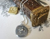 """Wax Seal necklace """"For You"""" - in French - flower arrangement bouquet pendant jewelry in fine silver"""
