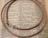 Leather necklace cord with bronze clasp for RQP Studio wax seal jewelry - natural light brown 24 inch