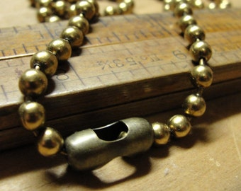 """Ball Chain Necklace Warm Gold 22"""" long Chunky Bead Chain Steampunk Style 4.4 mm big"""