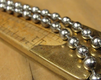 """Ball Chain Necklace Silver Tone 22"""" long Chunky Bead Chain Steampunk Style 4.4 mm big"""