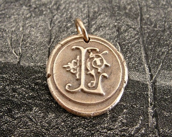 Wax Seal Charm Initial L - wax seal jewelry pendant alphabet charms Letter L by RQP Studio