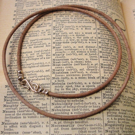 Leather necklace cord with bronze clasp for RQP Studio wax seal jewelry - natural light brown 18 inch